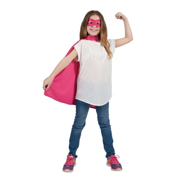 Childs Super Hero Cape & Mask - Pink